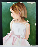 """14"""" Oil Painting Canvas Young Girl Pink Roses Dress Portrait Art Henry Lavell"""