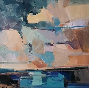 JOSE TRUJILLO Oil Painting IMPRESSIONISM CONTEMPORARY COLLECTIBLE LANDSCAPE SKY