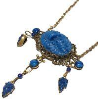 VINTAGE CZECH BLUE GLASS REPOUSSÉ FLORAL PENDANT DANGLE GOLD TONE NECKLACE