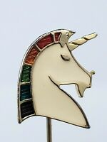Vintage Unicorn Stick Pin Brooch Rainbow Colored Enamel Gold Tone Metal Figural