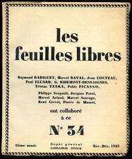 PICASSO, Les feuilles libres n° 34 - 1923. Radiguet Cocteau Tzara Eluard Crevel