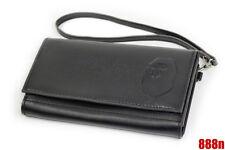 A Bathing Ape Bape Head Black Leather Wallet Rare Bag Case