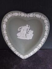 Wedgwood Heart Shaped Pin Tray Green/White