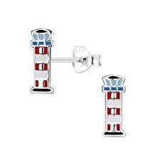 O&S  Leuchtturm Ohrstecker  925 Sterling  Silber  Ohrringe Damen Kinder Geschenk