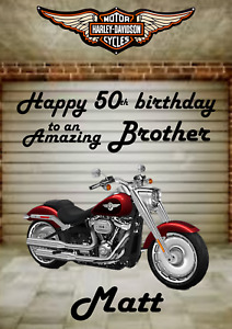 Harley Davidson personalised A5 birthday card son dad mum brother grandad name