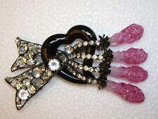 """VRBA Brooch Pin Huge 5"""" Givre Pierced Art Glass Crystal Heart & Bow OOAK!"""