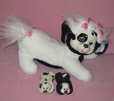 Vintage Original PUPPY SURPRISE White & Black Mom Dog w/2 Puppies Babies Plush