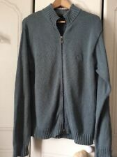 Mens Cardigan Long Sleeve Zip Up Cardi by TIMBERLAND sizeS/M Blue Grey Cotton