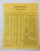 ONE TREE HILL set used DIRECTOR'S SCHEDULE Season 2