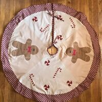 "Rustic Christmas Tree Skirt 46"" Round Applique Gingerbread-men Candy Canes Tan"
