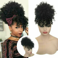 Kinky Curly Clip In Ponytail Drawstring Hair Extension Synthetic Hair Afro Bun
