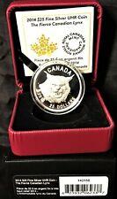 2014 Canada $25 Silver .9999 Uhr Fierce Canadian Lynx High Relief! +Box/Case/Coa