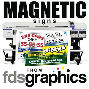 Pair of high quality vehicle magnetic signs - sizes from 500mm x 250mm