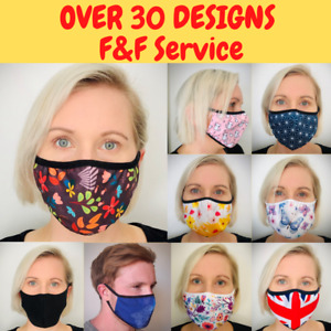 Cotton Face Mask Reusable Washable cloth black face mask adult UK stock