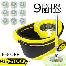 Microfiber Magic Spin Easy Wring Floor Mop & Bucket System 9X 360°Rotating Heads