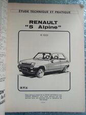 REVUE TECHNIQUE RENAULT 5 ALPINE (R 1223) VERSIONS NORMALES & COUPES
