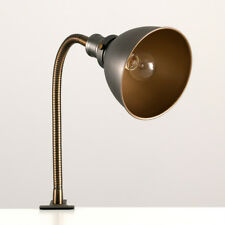 Vintage Industrial Style Pewter / Brass Clip On Adjustable Reading Desk Lamp