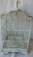 Vintage Painted Wood White / Silver Bird Cage Birdcage