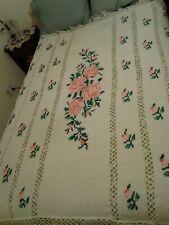 """VIntage Handmade Crocheted Knit Afghan Throw Blanket Pink Roses 75"""" x 58"""""""