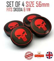 ⭐⭐4 X NEW PUNISHER RED  ALLOY WHEELS CENTRE CAPS 56mm  ⭐⭐