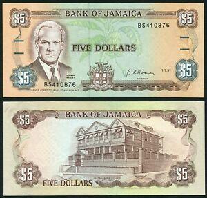 Jamaica 5$ 1991.07.01. Norman Manley & Old Parliament Building P70d UNC