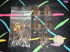10 Large Antique Silver Tone Robot Science Fiction Scfi Pendants Jewelry Accents