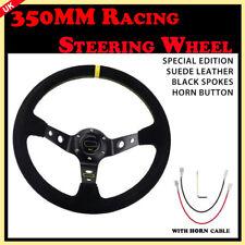 350mm Suede Deep Dish Steering Wheel Fit Race Rally Drift Street Universal UK