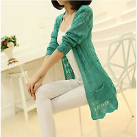 Women Casual Long Sleeve Cardigan Hollow Knitwear Sweater Outwear_Gift