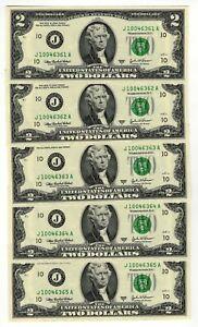 Lotto 5 x Banconote Stati Uniti - 2 Dollari - Serie J - Consecutive - FDS / UNC