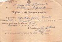 VENTENNIO FASCISTA - REGIO ESERCITO - RARO BIGLIETTO DI LICENZA SERALE - 1936