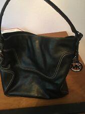 Michael Kors Black Leather Tote Medium Shoulder Bag Purse Handbag
