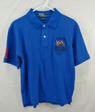 New listing Vintage Polo Ralph Lauren Shirt Large Short Sleeve Blue Brown Horses Patch