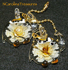 ART GLASS CEILING FAN LIGHT SWITCH PULL YELLOW FLORAL CIRCUS ELEPHANT LARGE PAIR