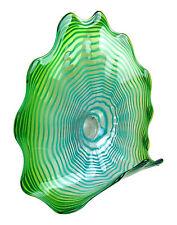 """23"""" Hand Blown Art Glass Table Platter Plate Green Shelf w/ Wall Hanging Mount"""