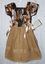 WESTERN WILD HORSES HANG OVER DOOR DRESS KITCHEN HANDMADE TOWEL 100% COTTON
