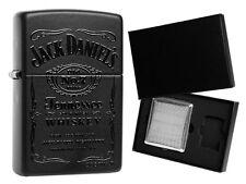 Zippo Jack Daniels Black in Black mit 18er Zigarettenetui Geschenkset