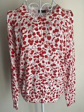 M&Co Women's Cardigan Size 12 Ivory White Red Cherry Pattern Long Sleeved