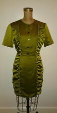 Burberry Olive Green Satin Ruched Sides Fitted Dress Sz US 8