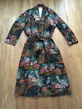Asian Style Robe Black Green Orange Kimono Mountain & Tree Design Halloween