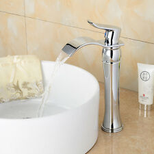 Chrome Waterfall Modern Bathroom Faucet One Hole/Handle Vessel Lavatory Taps