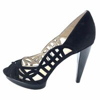 Nine West Womens Speed Up Heel Shoes Black Leather Peep Toe Cut Out 10 M New