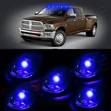 5 Pure Blue 8SMD LED Cab Rooftop Marker Light Clear Len For Ford Truck SUV Dodge