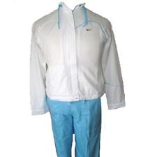 Nike Womens Warm Up Tracksuit White Light Blue Dri Fit Tennis Track Suit Set XS