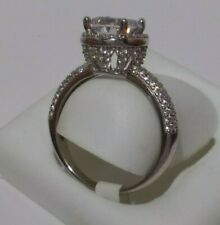 Rhodium plated 925 Sterling Silver FANCY Solitaire Ring size 7 W/ micro-pave CZ