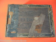 EL BARCO Vintage Antique Empty Hand Made Wooden Humidor Paper Trimmed Cigar Box