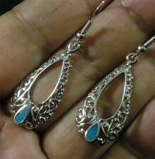 Turquoise Silver Plated Pewter Filigree Teardrop Turquoise Chip Hook Earrings