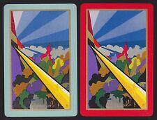 2 Single VINTAGE Swap/Playing Cards USNN 'ANTICIPATION AN-2-1-A & B' DECO DESIGN