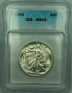 1942 Silver Walking Liberty Half Dollar 50c ICG MS-63 Looks Undergraded