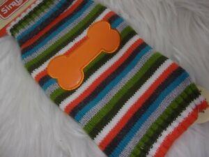 Multi Stripe orange BONE Sweater Simply Dog XXS XS S new pet puppy XSmall Small