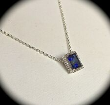 "BLUE TOPAZ PREMIUM QUALITY SILVER PENDANT & CHAIN - 'CERTIFIED""  BNWT"